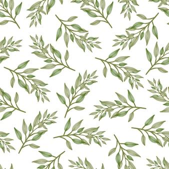 Nahtloses muster aus frischen grünen blättern für stoffdesign
