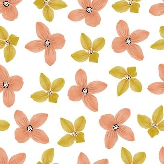 Nahtloses muster aus gelb- und orangenblütenblütenblatt