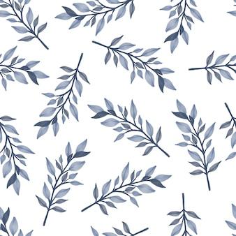 Nahtloses muster aus grauen blättern für hintergrund- und stoffdesign