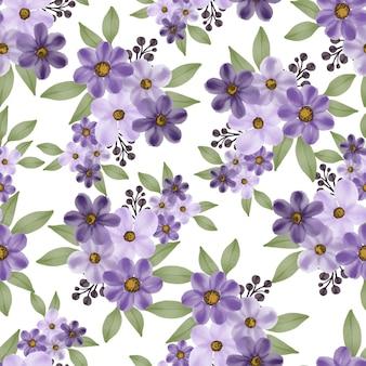 Nahtloses muster aus lila blüten und blättern für stoff- und hintergrunddesign