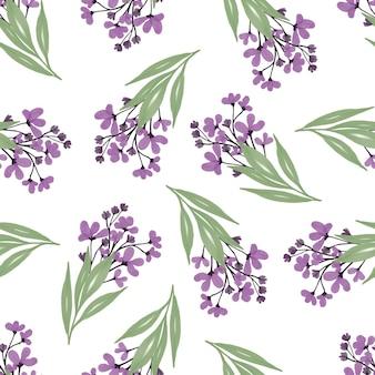 Nahtloses muster aus lila blumenstrauß für stoff- und hintergrunddesign