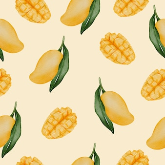 Nahtloses muster aus reifer mango und grünem blatt