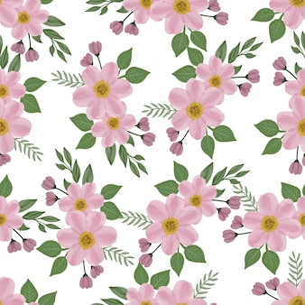 Nahtloses muster aus rosa blüten und blättern für stoff- und hintergrunddesign