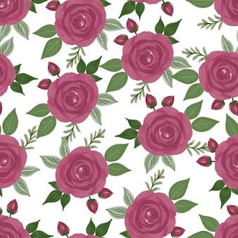 Nahtloses muster aus roten rosen für stoffdesign