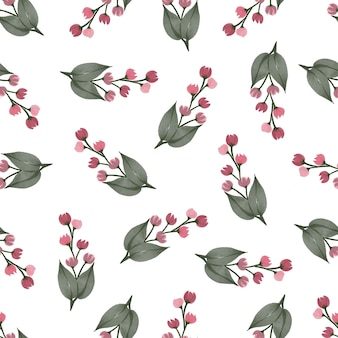Nahtloses muster aus roten wildblumen für hintergrund- und stoffdesign