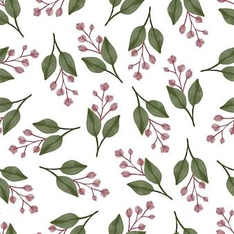 Nahtloses muster aus roter knospe und grünem blatt für textildesign