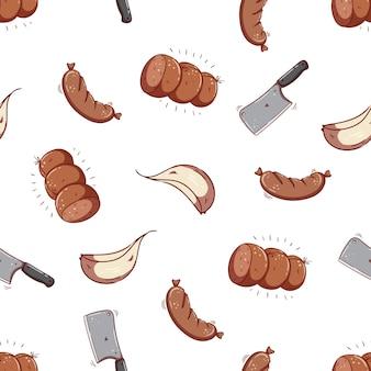 Nahtloses muster aus salami-wurst und knoblauch mit doodle-stil