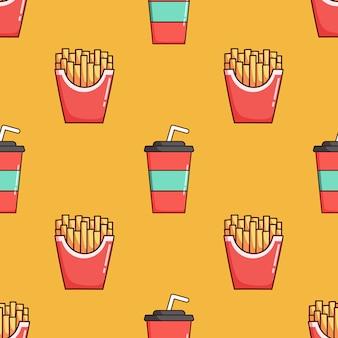 Nahtloses muster aus soda-pappbecher und pommes frites mit doodle-stil