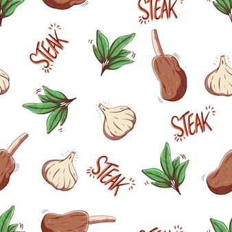 Nahtloses muster aus steak und knoblauch im doodle-stil
