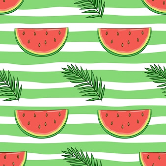 Nahtloses muster aus wassermelone und palmblättern mit farbigem doodle-stil