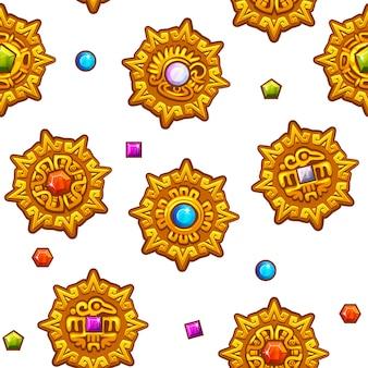 Nahtloses muster aztekische symbole mit farbigen edelsteinen