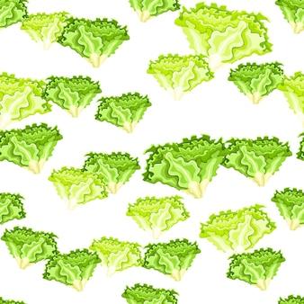 Nahtloses muster batavia-salat auf weißem hintergrund. moderne verzierung mit salat.