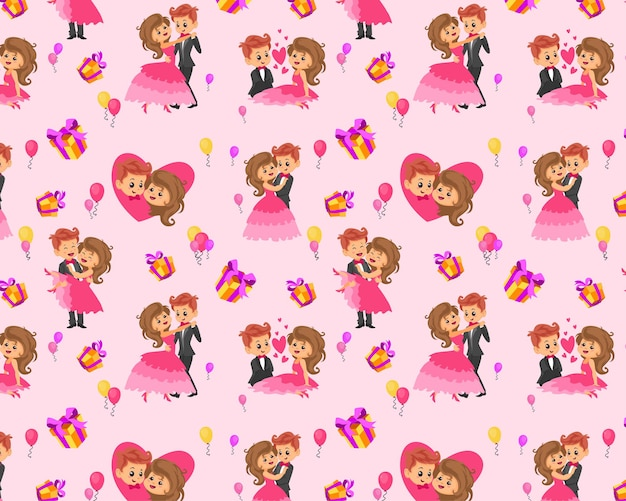 Nahtloses muster bearbeitbares textilgewebe muster voll anpassbare kindergeschenkverpackung babymuster liebespaar valentinstag geschenkverpackungspapiermuster