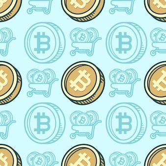 Nahtloses muster bitcoin-cartoon