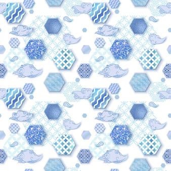 Nahtloses muster, blauer hintergrund im trendigen orientalischen stil