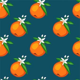 Nahtloses muster blüht orange früchte mit blättern und blüten