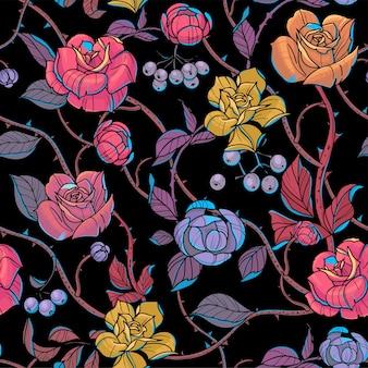 Nahtloses muster blüht rosen und niederlassungen vector illustration