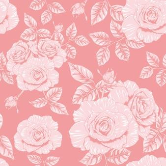 Nahtloses muster blumenrosa rose blumen vintage abstrakten hintergrund
