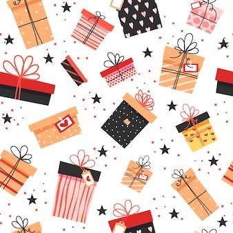 Nahtloses muster. bunte geschenke, viele verschiedene niedliche schachteln mit schleifen.