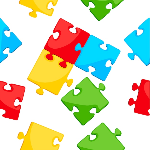Nahtloses muster. buntes puzzlesymbol. blaues, grünes, gelbes und grünes detail. flache illustration auf weißem hintergrund.