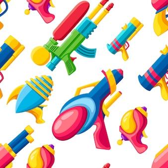 Nahtloses muster. cartoon waffensammlung. flache bunte spielzeuge. design von weltraumlaserpistolen. illustration auf weißem hintergrund.