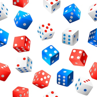 Nahtloses muster. casino würfel sammlung von authentischen ikonen. rote, blaue und weiße pokerwürfel. mehrere positionen. illustration auf weißem hintergrund