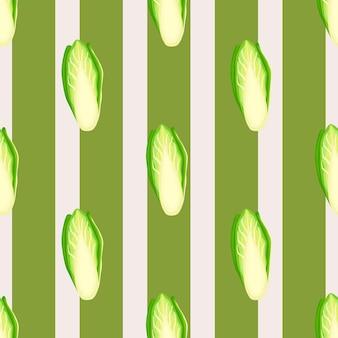 Nahtloses muster chicorée-kohl auf streifenhintergrund. verzierung mit salat. geometrische pflanzenvorlage für stoff. design-vektor-illustration.