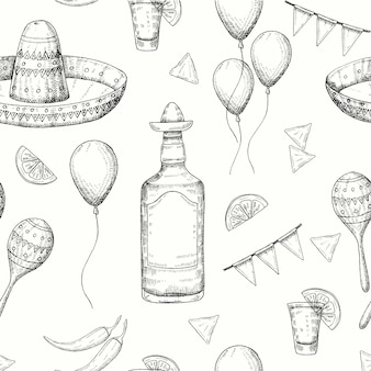 Nahtloses muster cinco de mayo mit gekritzel handgezeichnete mexikanische symbole - chili-pfeffer, maracas, sombrero, nachos, tequila, luftballons, flaggengirlande. skizzieren. für hintergrundbilder webseitenhintergrund