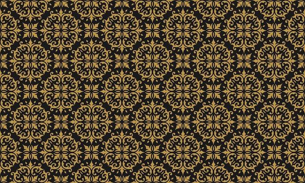 Nahtloses muster damastgold gold verzierte vignetten wirbelt