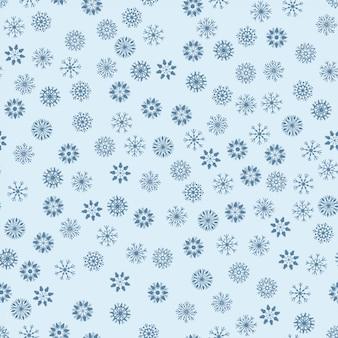 Nahtloses muster, das blaue gezeichnete art der schneeflocken in der hand