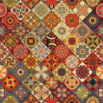Nahtloses muster. dekorative elemente der weinlese patchworkfliese.