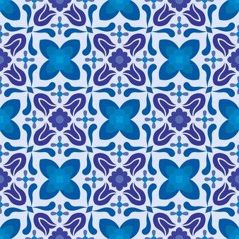Nahtloses muster der abstrakten blauen blumen.