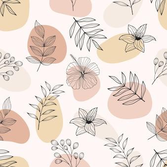 Nahtloses muster der abstrakten botanischen floralen tropischen blätter strichzeichnungen stil