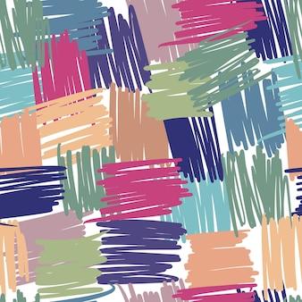 Nahtloses muster der abstrakten geometrischen chaotischen linien. freihand-streifenhintergründe für textilgewebe oder bucheinbände, tapeten, design, grafik, verpackung
