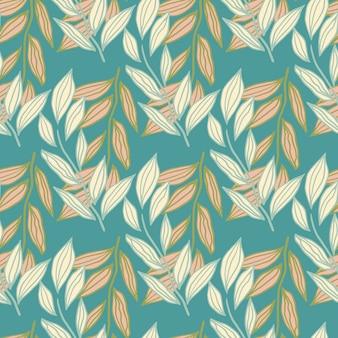 Nahtloses muster der abstrakten silhouetten des laubzweigs. pastelllicht und orange botanische elemente auf blauem türkisfarbenem hintergrund.