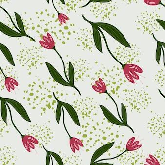 Nahtloses muster der abstrakten zufälligen tulpe auf spritzenhintergrund.