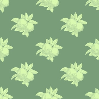 Nahtloses muster der äpfel auf grünem hintergrund. vintage botanische tapete. hand zeichnen fruchtbeschaffenheit. gravur vintage-stil.