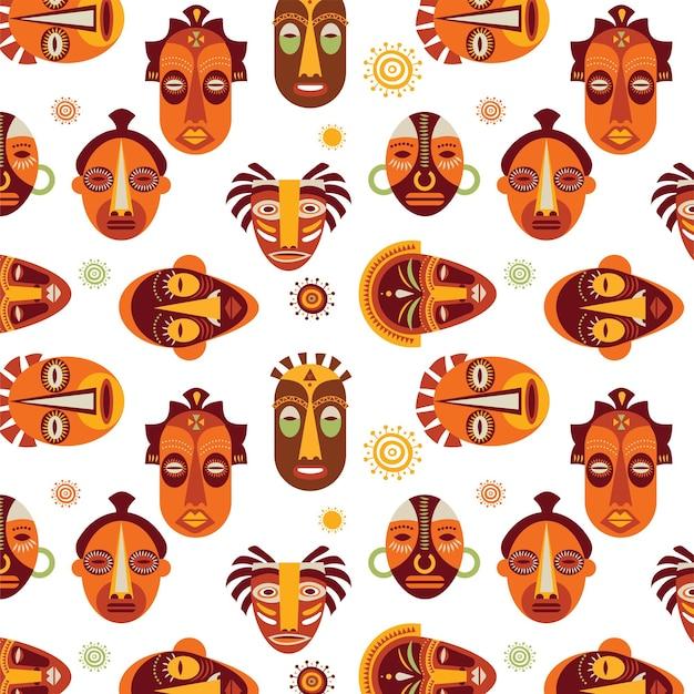 Nahtloses muster der afrikanischen masken