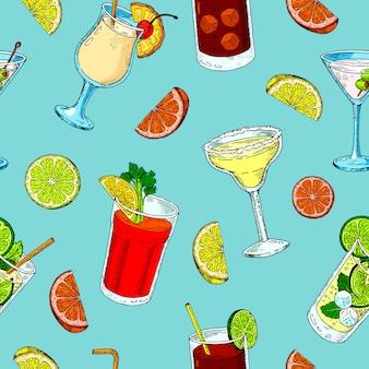 Nahtloses muster der alkoholischen getränke. mojito, bloody mary und cuba libre. exotisches cocktailmuster, getränkdruck.