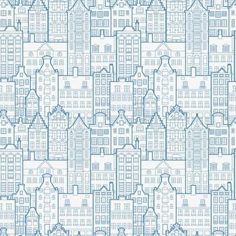 Nahtloses muster der alten europäischen stadt. holland beherbergt fassaden im traditionellen holländischen stil.