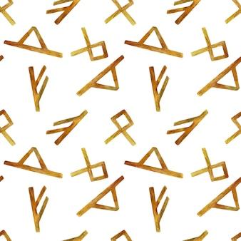 Nahtloses muster der alten runen des aquarells