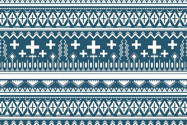 Nahtloses muster der amerikanischen ureinwohner, blauer hintergrundvektor