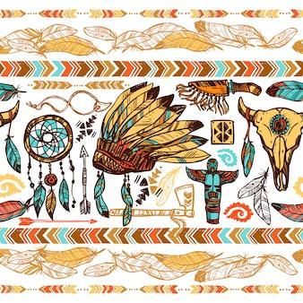 Nahtloses muster der amerikanischen ureinwohner