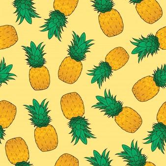 Nahtloses muster der ananas-frucht