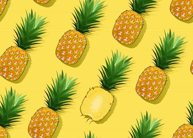 Nahtloses muster der ananas ganz und im längsschnitt