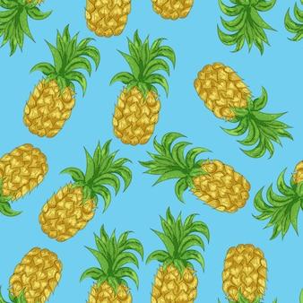 Nahtloses muster der ananas in der karikaturart. tropische exotische früchte für ihre projektzusammenfassung.