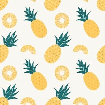 Nahtloses muster der ananas, tropische reife frucht.