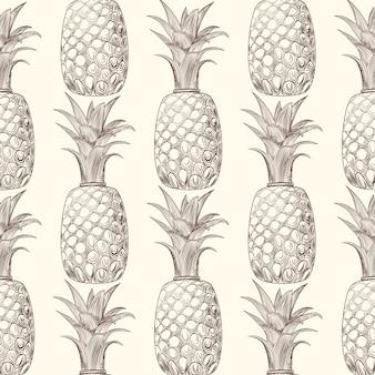Nahtloses muster der ananasfruchtskizze. exotische tropische früchte im hintergrund.