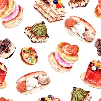 Nahtloses muster der aquarellbäckerei