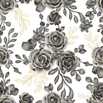 Nahtloses muster der aquarellblume rose schwarzgold